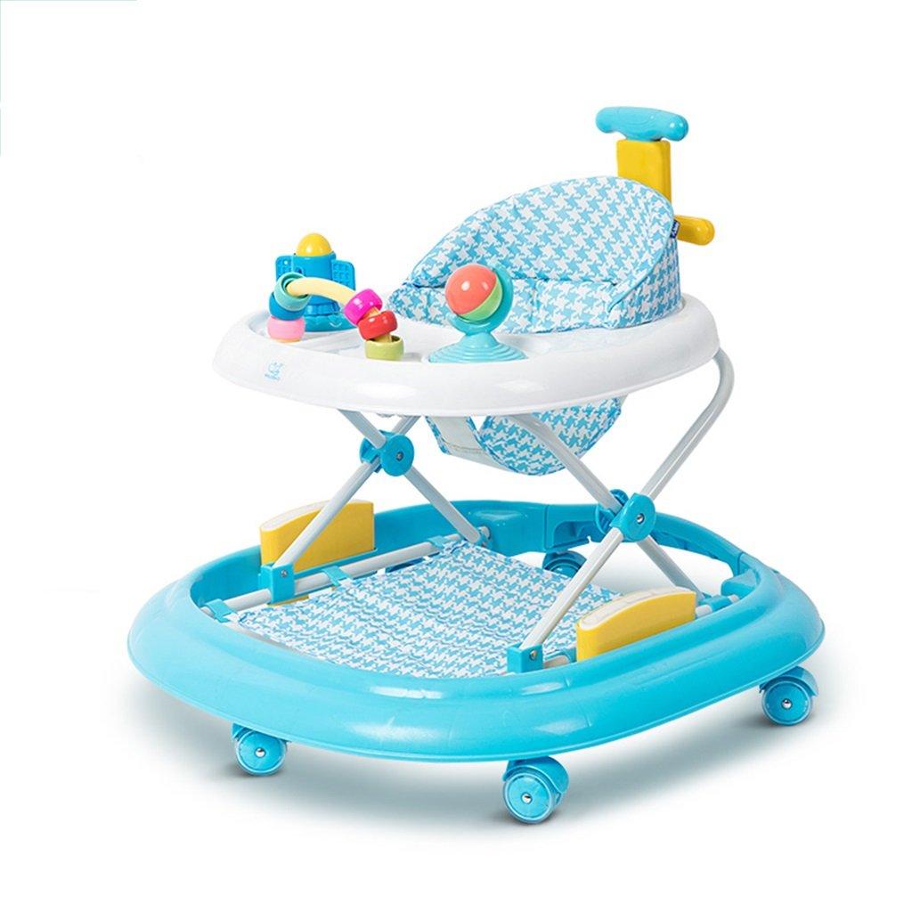HAIZHEN マウンテンバイク ベビーウォーカー6/7-18ヶ月赤ちゃんアンチロールオーバー多機能ハンドプッシュは、折りたたみ可能な3つの高さ調整可能なベビーキャリッジに座ることができます66 * 71 * 62センチメートル 新生児 B07DMPR4P5青