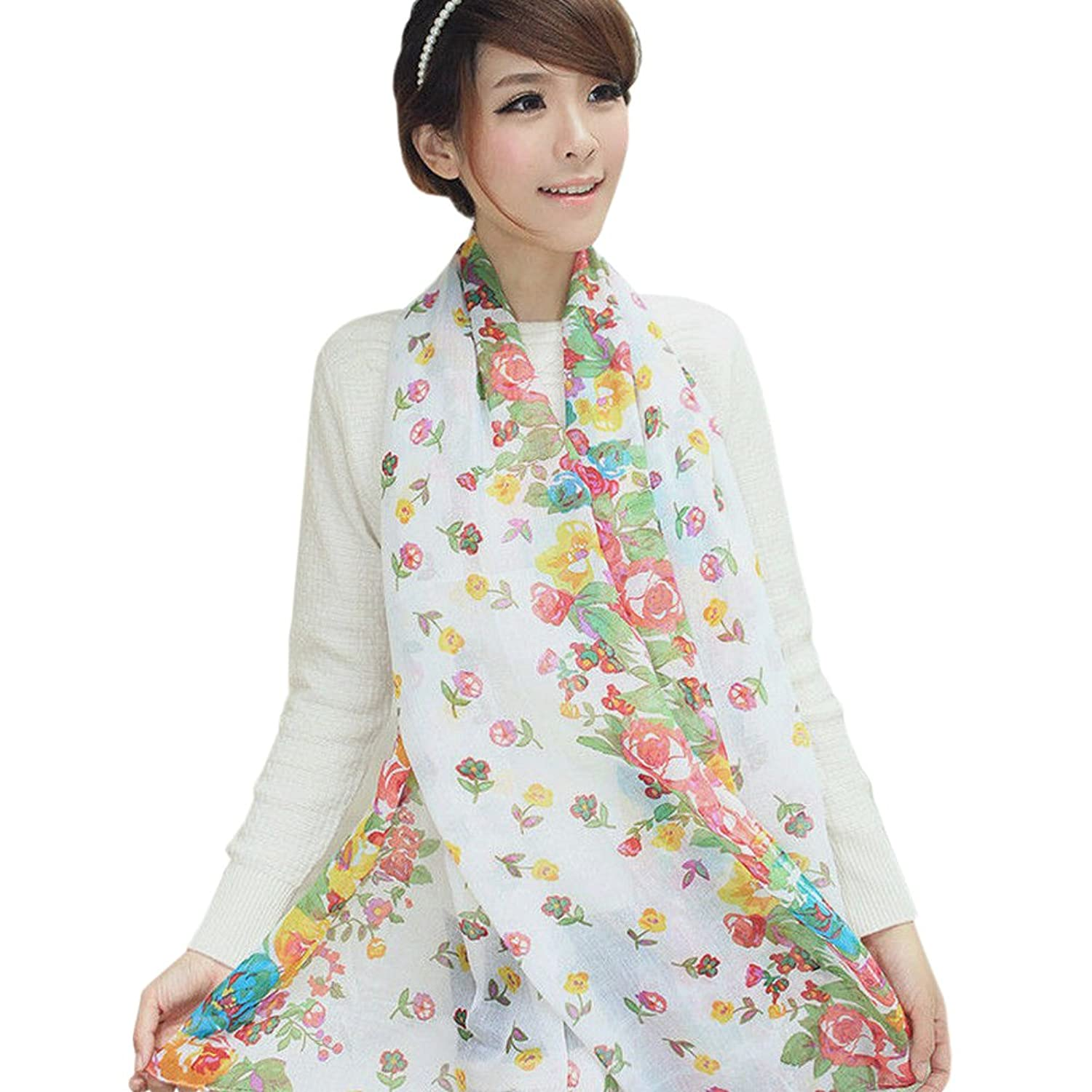 New fashion sexy woman cotton white flower scarf shawl had been stolen