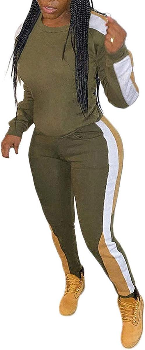 Uni Clau Women Two Piece Outfits Tracksuit Splice Pullover Tops Bodycon Pants Sportswear Sweatsuits