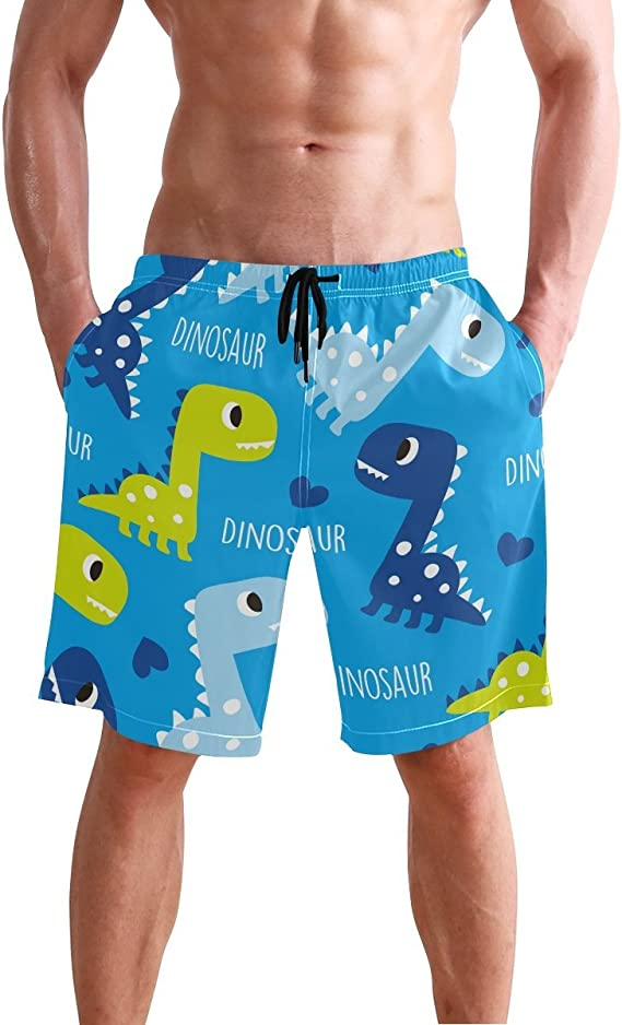 Red Dragon and Skull Mens Beach Board Shorts Swim Trunks Casual Gym Home Pants with Pocket