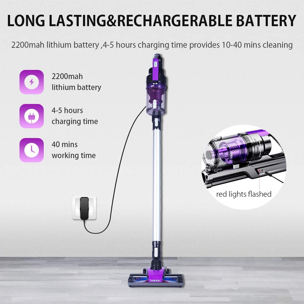 SONRU Rechargeable Cordless Stick Vacuum Cleaner 10KPA Powerful Cyclonic Suction Lightweight 3-in-1 Handheld Vacuum Cleaner with LED Lights HEPA Filter for Home Pet Hair Hard Floor Carpet Car