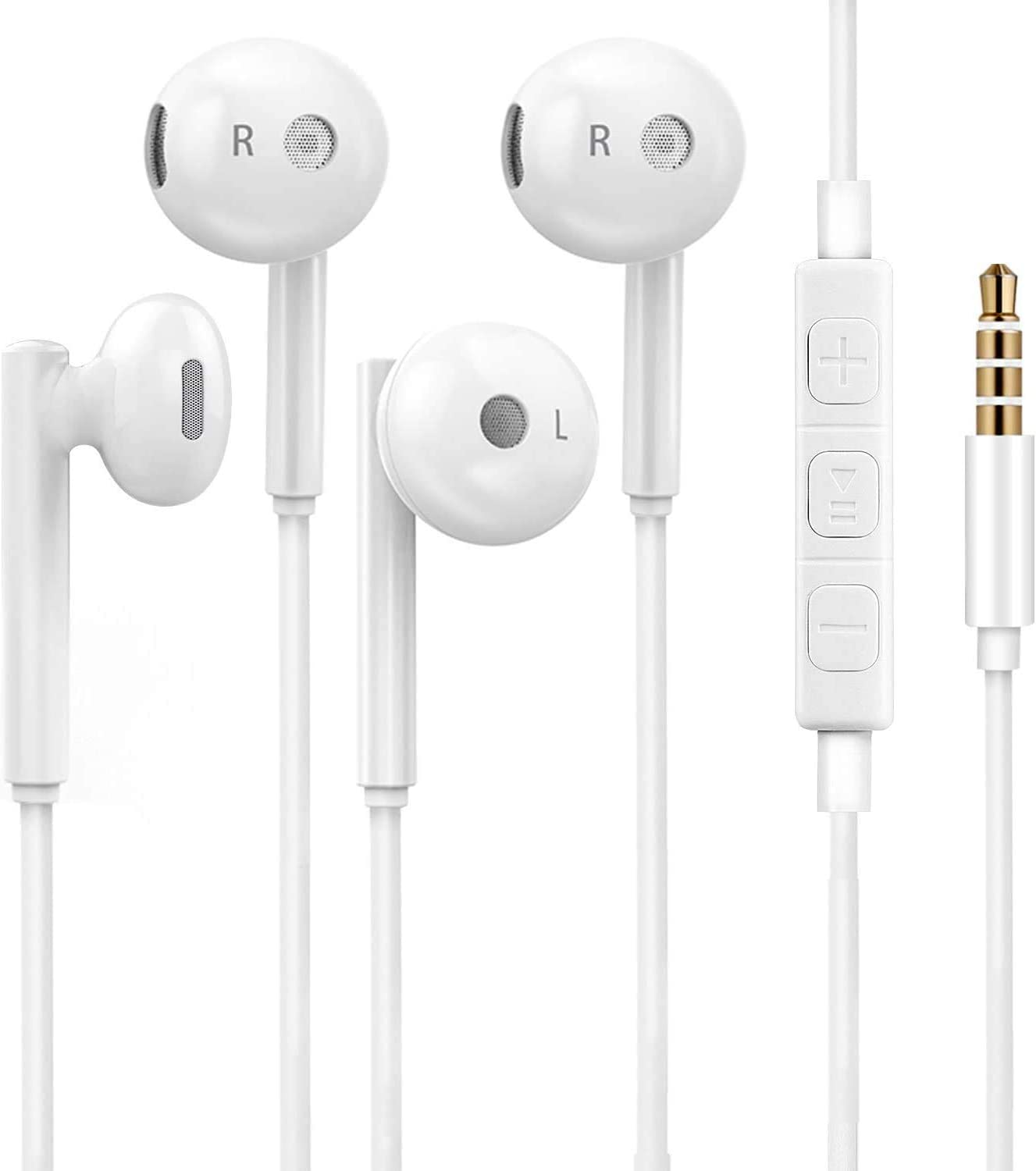 Heren 3.5mm in-Ear Wired Noise Cancellation Earbuds/Earphones/Headphones with Remote & Micphone Compatible with iPhone 6 Plus 5 4/Samsung/Android/MP3(2 Pack)