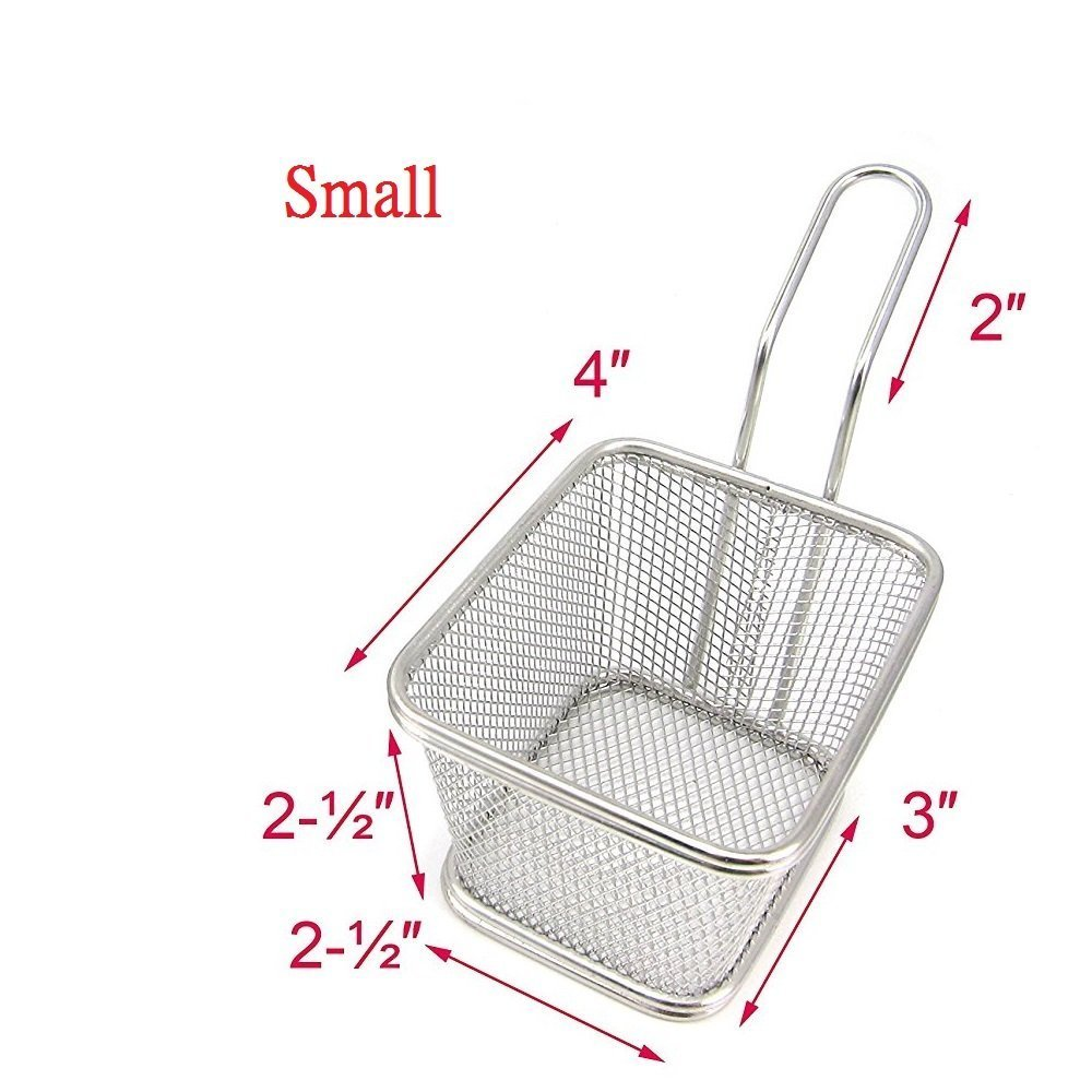 Mini Chips Fry Basket Stainless Steel Fryer Baskets Strainer French Fries Holder,Table Serving Food Presentation Tool With Bonus Sauce Cup (2)