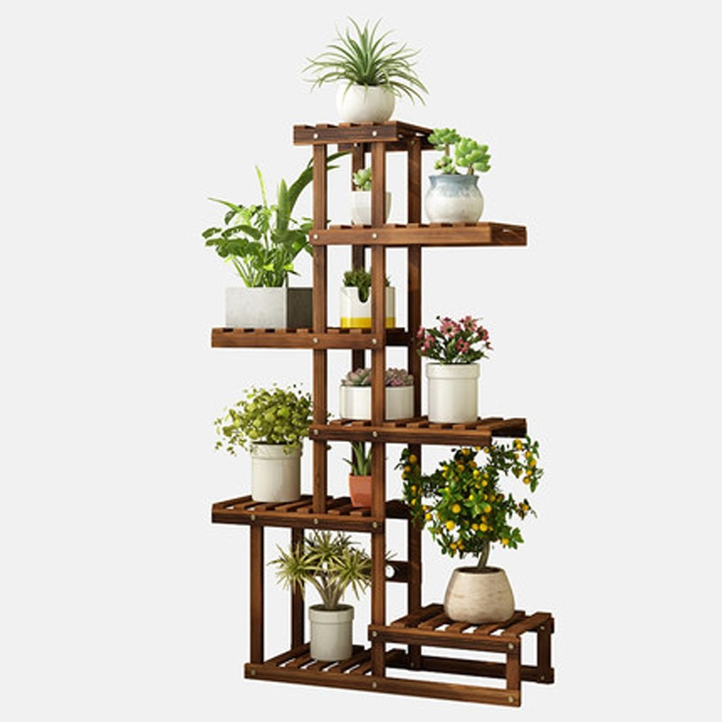 LIN-rlp Wooden Flower Stand Floor-Mounted Multi-Layer Storage Shelf, 116x25x67cm Balcony Living Room Plant Stand 7 Tier, Dark Brown by LIN-rlp