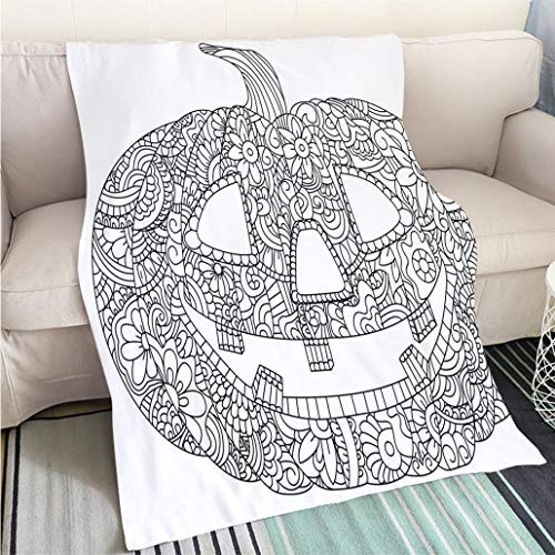 BEICICI Super Soft Flannel Thicken Blanket Pumpkin for Halloween Coloring Vector Sofa Bed or Bed 3D Printing Cool Quilt]()