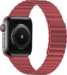 VeryBet Leather Loop Band Compatible for Apple Watch 44mm 42mm 40mm 38mm, Adjustable Loop Link Strap with Strong Magnetic Closure for iWatch Series 6-5-4-3-2-1