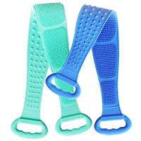 Silicone Back Scrubber for Shower, Body Brush with Handle for Men and Women,2pcs Exfoliating Long Double Side, Lathers Well, Deep Clean, Easy to Use,Comfortable Massage Relieves Fatigue(Green & Blue)