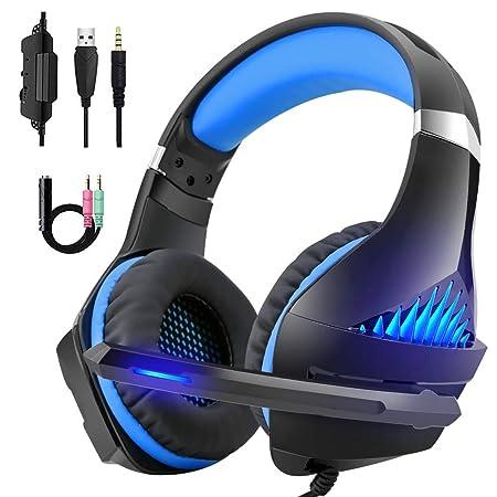 DeepDream Gaming Headset für PS4 PC Xbox One,Professional Headset mit Mikrofon Stereo Sound Noise Isolation und Lautstärkereg