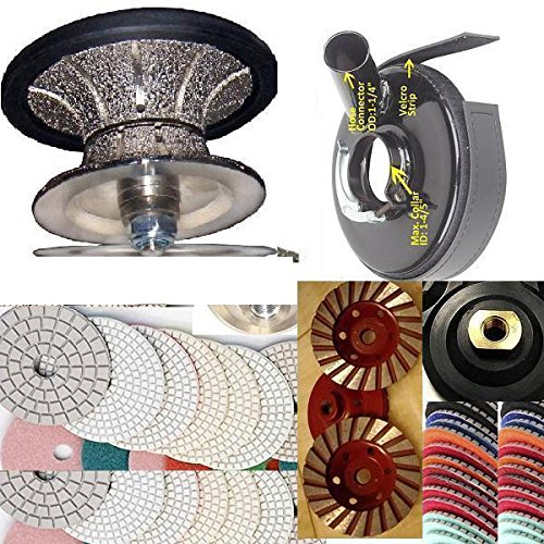 Diamond Brazed Full Bullnose V40 (1-1/2'') Router Bit Metal Dust Shroud 2 Turbo Coarse Cup Wheel 20 Polishing Pad 2 Glaze Final Buff granite marble travertine stone concrete by Asia Pacific Construction (Image #1)