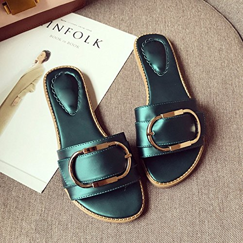 Green Type Flat Seven One Slippers Simple Bottom KPHY Green Drag Shoes Comfortable Women'S Summer Bottom Soft Thirty qx8Svw