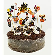 Maydolbone 22Pcs Halloween theme Cupcake Toppers,Food Picks Baby Shower Decor And Birthday Party Decoratio