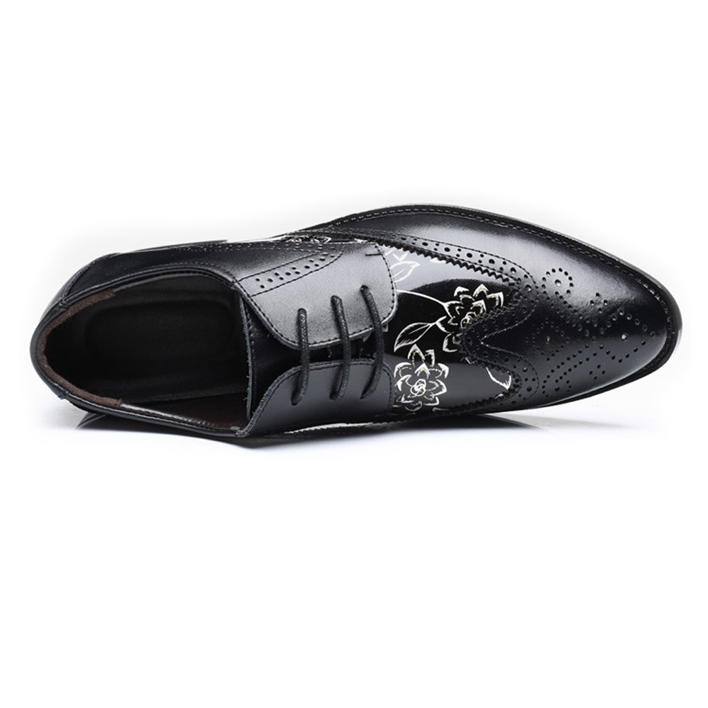 Easy Go Shopping Shopping Shopping Scarpe di Pelle, Scarpe Brogue da Uomo Wingtip Hollow Carving Splice Smooth Flower Pattern PU Stringate in Pelle con Lacci 697486
