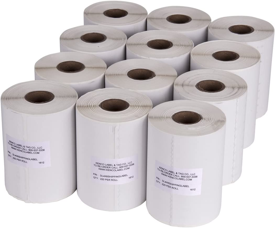 "4"" x 6"" Compatible with Dymo 4XL Postage Shipping Labels, Compatible with Dymo 1744907 (1 Roll - 220 Labels Per Roll) (12 Pack)"