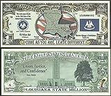 Louisiana State Educational Million Dollar Bill W Map, Seal, Flag, Capitol -Lot of 100 Bills