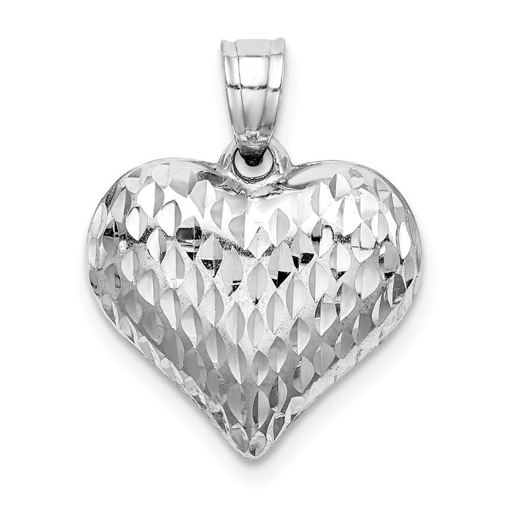 925 Sterling Silver Hollow Polished Sparkle-Cut Puffed Heart Pendant