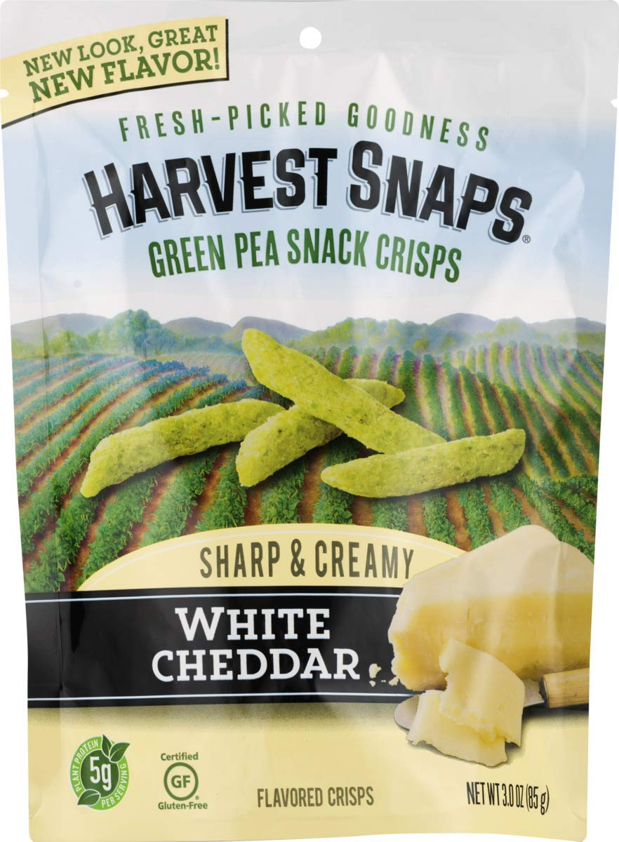 Harvest Snaps White Cheddar Green Pea Snack Crisps, Gluten-Free, Baked and Crunchy Vegetarian Snack With Plant Protein and Fiber, 3oz/12Count