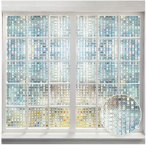 LUTE Rainbow Window Film, 3D Decorative Window Vinyl, Stained Glass Window Decals, Static Cling Window Sticker Removable Non-Adhesive UV Blocking 17.5 x 78.7 44.5 x 200 cm