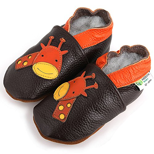 AUGUSTA BABY Baby Boys Girls First Walker Soft Sole Leather Baby Shoes - Genuine Leather Giraffe