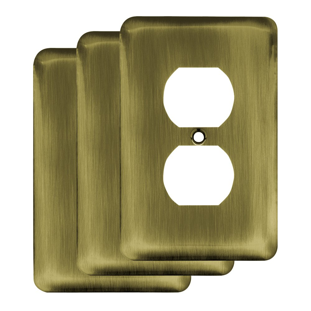 Franklin Brass W10249V-AB-R Stamped Steel Round Single Duplex Outlet Wall Plate, Antique Brass,Pack of 3