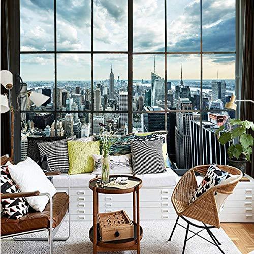 (Mural Wall Sticker Photo Wallpaper New York City Building Window Landscape Photography Mural House Decoration Living Room Decoration Murale 100Cmx144Cm)