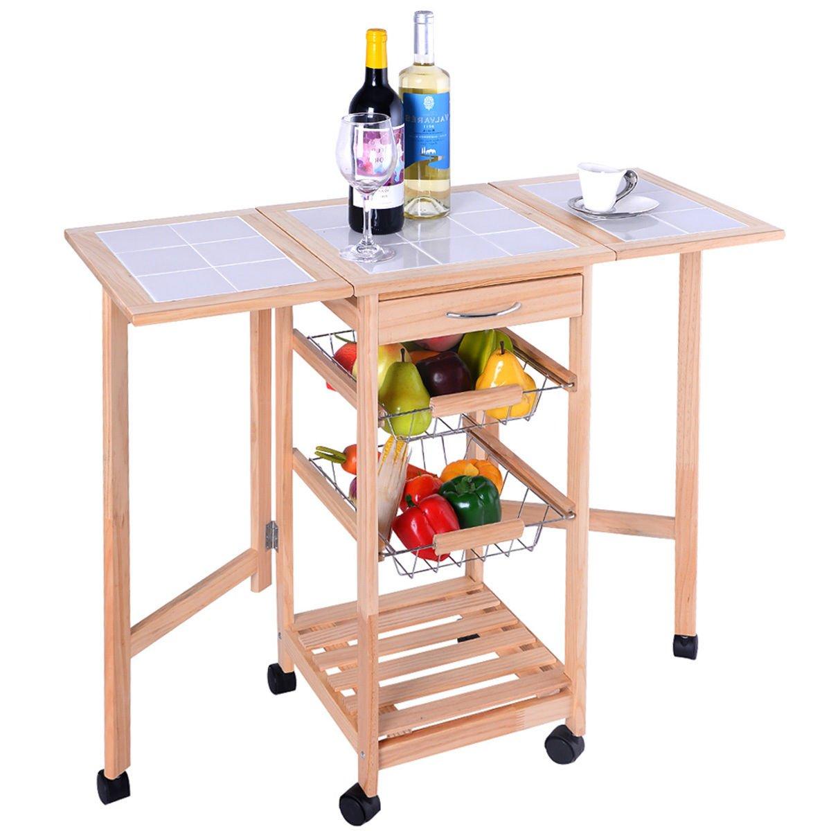 PROSPERLY U.S.Product Portable Rolling Wood Kitchen Trolley Cart Drop Leaf Storage Drawers Rack Basket by Prosperly (Image #2)