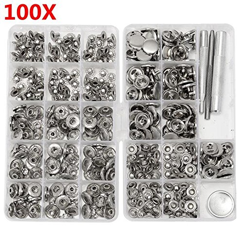 Fasteners Nut & Bolt Assortment Sets - 100 Sets 15mm Silver Snap Fasteners Popper Press Buttons with Installation for Leather