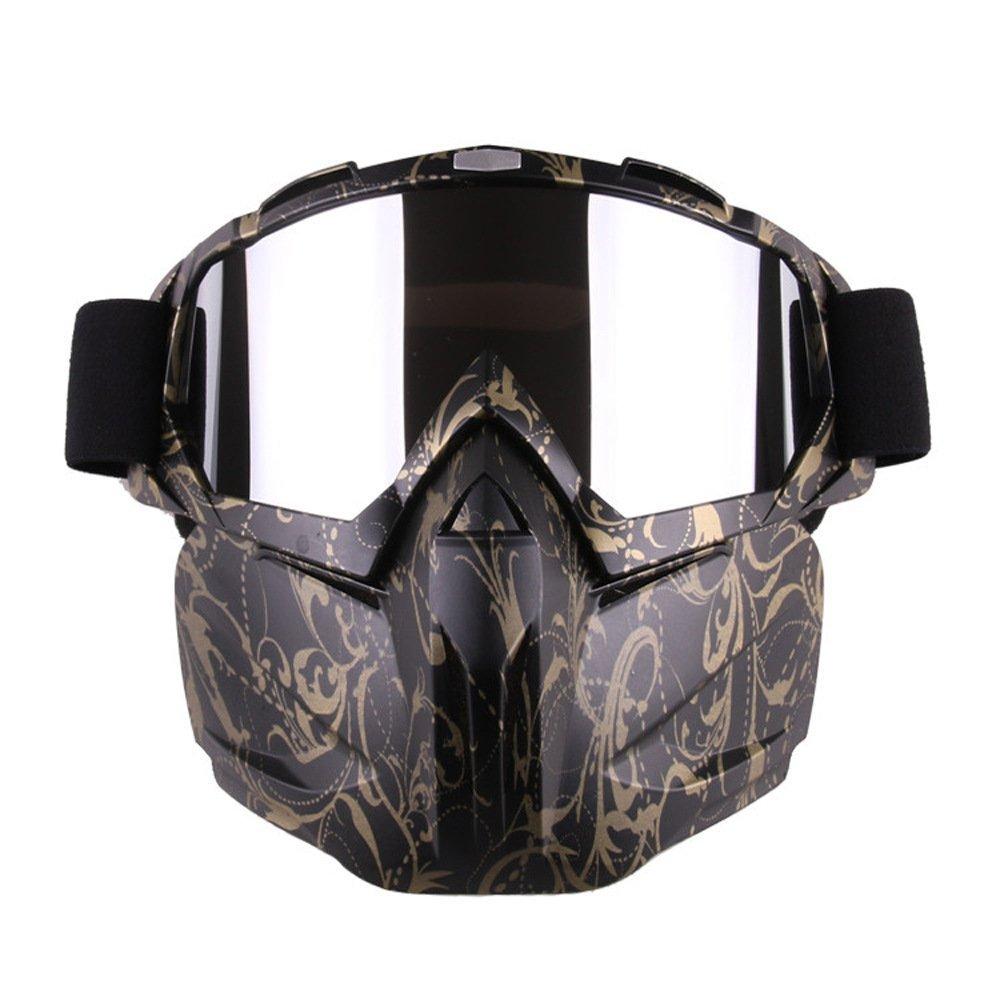 GZQ Motorrad Goggles mit abnehmbarer Maske Sicherheit Helm Brille winddicht Staubdicht Motocross Motorrad Goggle für Schnee Skifahren, Radfahren, Klettern, Reiten & Outdoor Sports