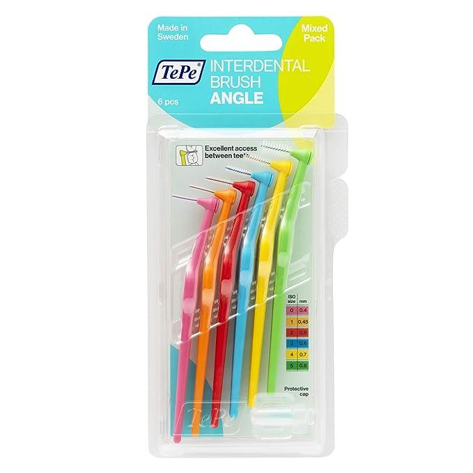 TePe Angle Cepillos interdentales angulados/Palillos interdentales/Pack de 6 unidades de diferente tamaño, multicolor: Amazon.es: Salud y cuidado personal