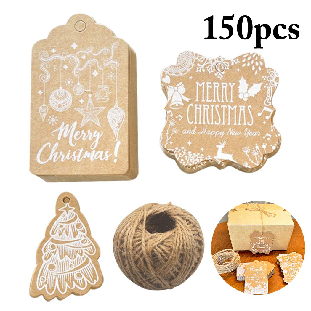 Xmas Gift Tag,Justdolife 150PCS Christmas Gift Tag Decorative Hanging Tag Paper Tag with Jute Twine by JUSTDOLIFE (Image #1)