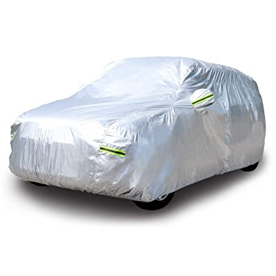 """Basics Silver Weatherproof Car Cover - PEVA with Cotton, SUVs up to 203"""": Automotive"""