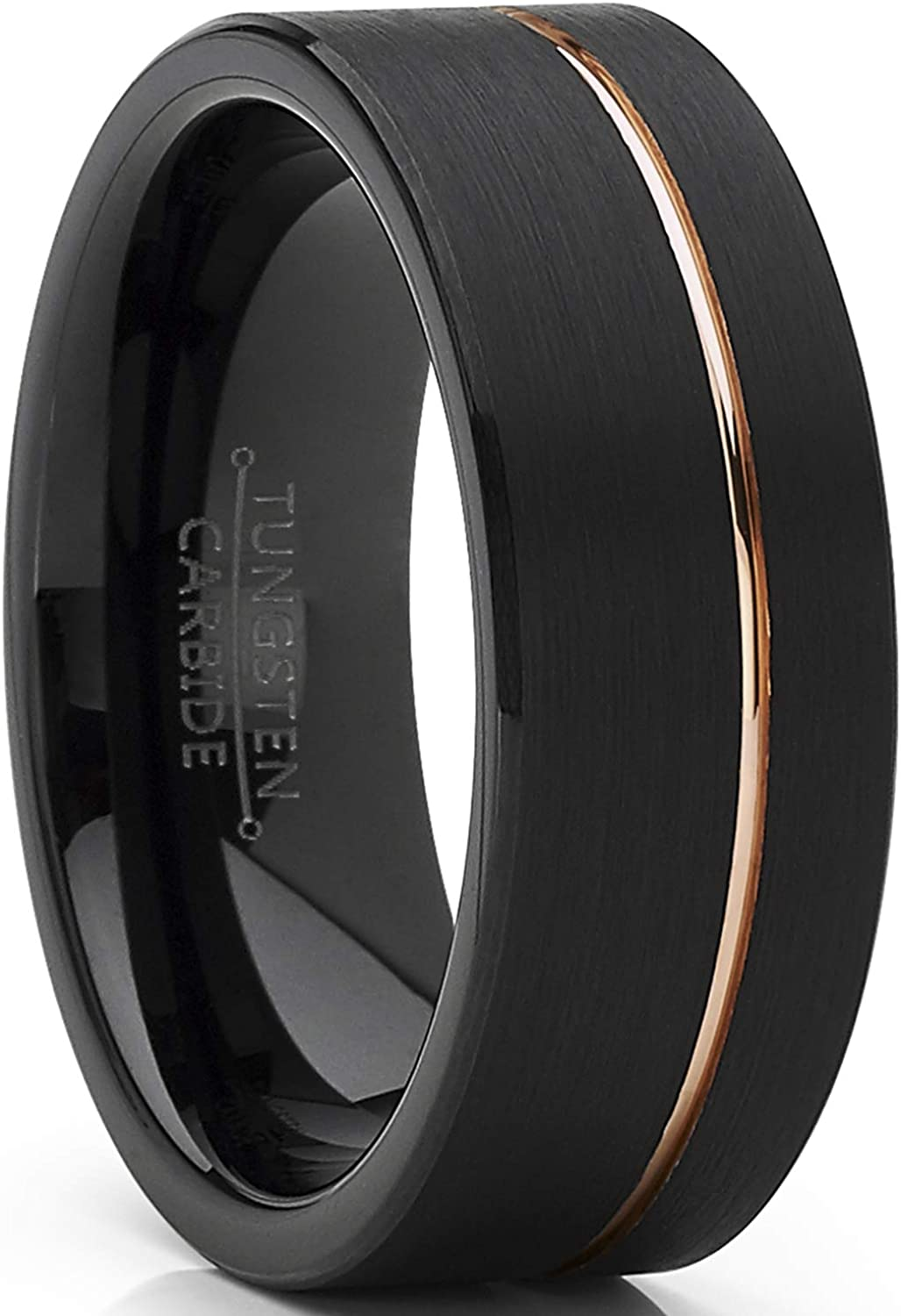 Metal Masters Co. Men's Black Tungsten Carbide Ring Wedding Band with Rose Goldtone Groove 8mm