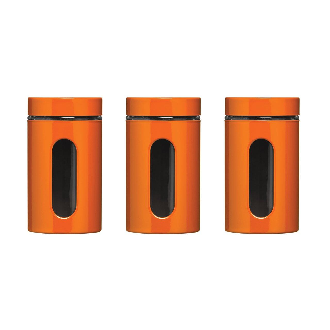 Orange Enamel Finish Tea Coffee Sugar Jar Canisters 1000ml Multi Purpose  Storage Jars Set With Glass Window: Amazon.co.uk: Kitchen U0026 Home