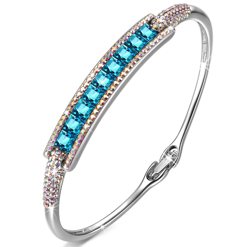 PAULINE&MORGEN bangle for teen girls women mom swarovski bracelets graduation gifts for her for couple wife girlfriend birthday gifts for daughter friends Sister niece grandma blue crystals jewelry