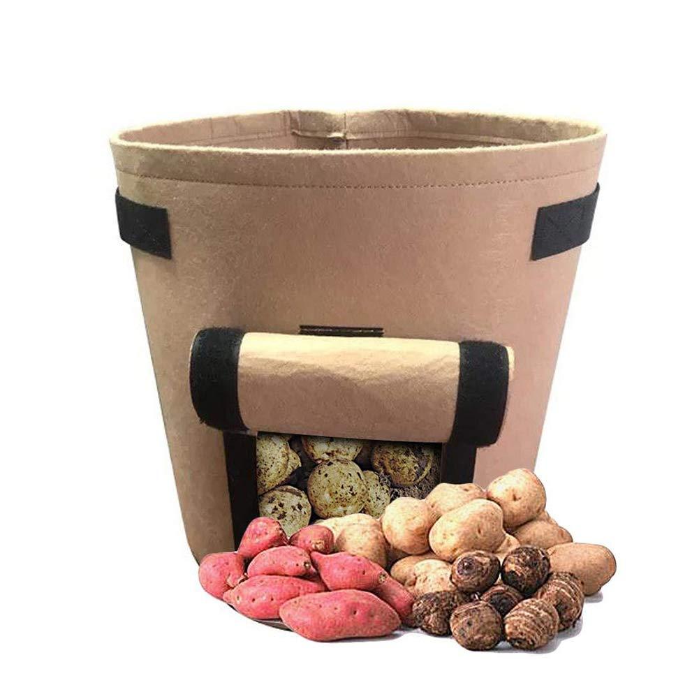 1PC Potato coltiva il sacchetto 7 Gallon aerazione in tessuto impermeabile Sweet Potato Planter Premium traspirante non tessuto panno benna Pot per Nursery Garden M scuri