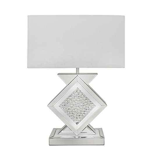 White Mirror Astoria Mirrored Table Lamp Bedside Home Living Room Lounge  Light