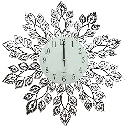 Lulu Decor, Decorative Leaf Metal Wall Clock, Glass Dial Diameter 25, Perfect for Housewarming Gift (Crystal Clock2)