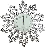 LuLu Decor, Decorative Leaf Metal Wall Clock, Glass Dial Diameter 25'', Perfect for Housewarming Gift (Crystal Clock2)