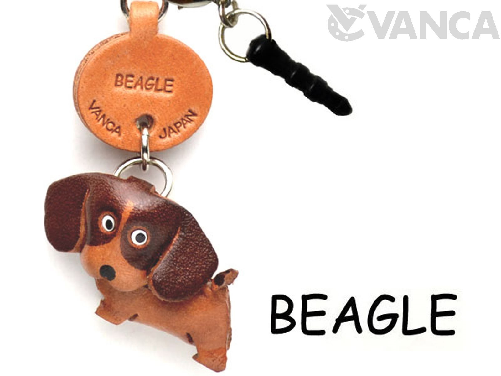 Beagle Leather Dog Earphone Jack Accessory / Dust Plug / Ear Cap / Ear Jack *VANCA* Made in Japan #47704
