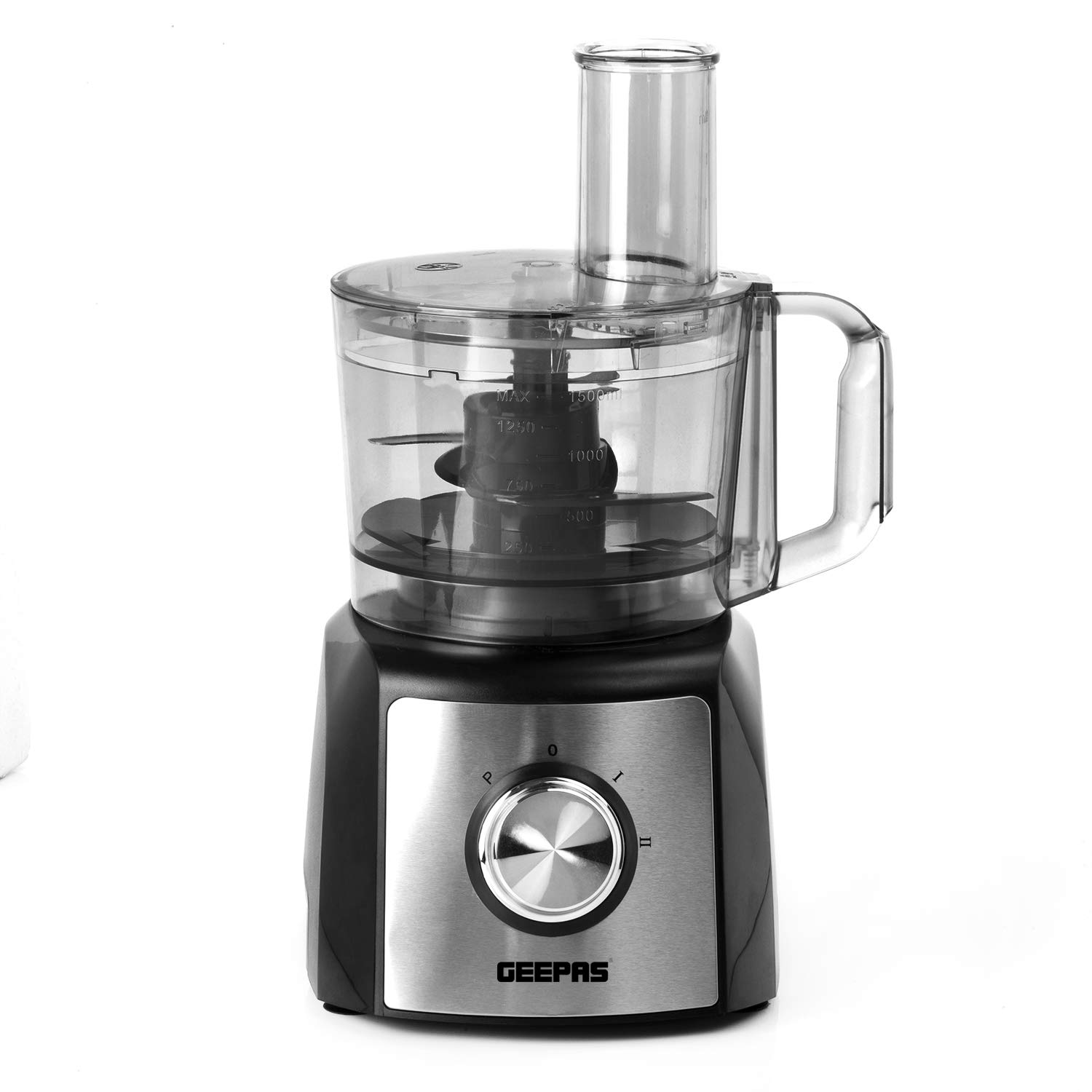 Geepas 1200W Compact Food Processor and Blender, Low Noise, Stainless Steel Blade with 1.2L Bowl Capacity & Two Speed and One Pulse Control