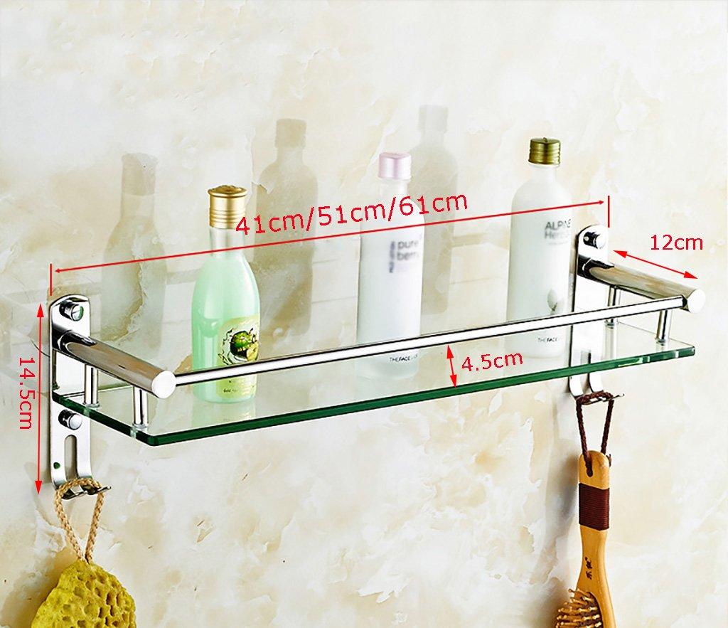タオル掛け ガラスシェルフタオルラックバスルームシェルフウォールマウントミラー洗面台 タオルスタンド (サイズ さいず : 51センチメートル) B07DWT2SFW 51センチメートル 51センチメートル