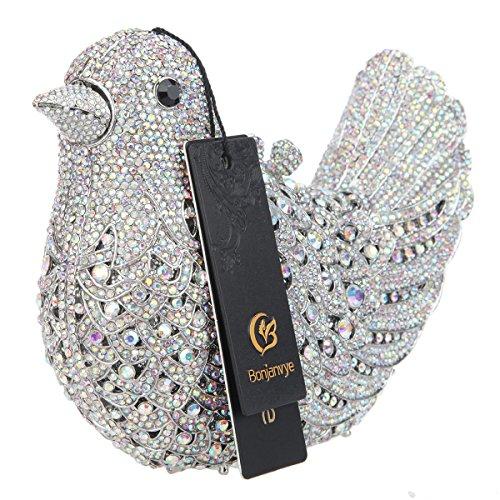 Evening Glitter Bird Purses For Girls Silver Rhinestone Ab Blue Clutch Bonjanvye Bag wXq1xUTTF