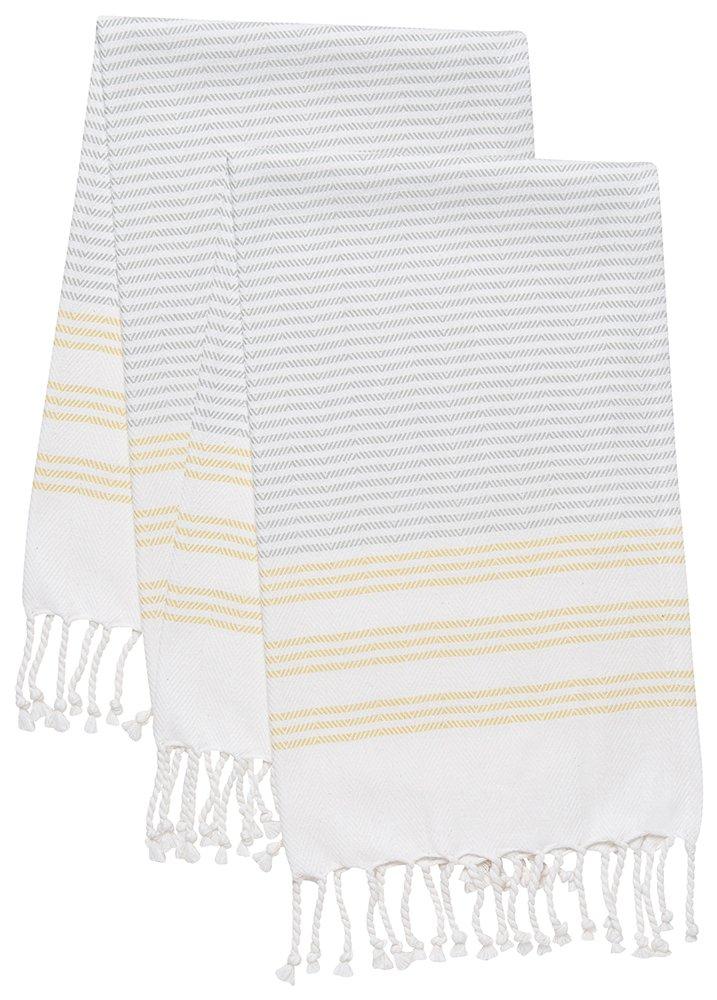 Danica Studio 7001464 Danica Hammam Cotton Hand Towel, Citron Stripe