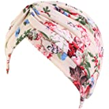Ever Fairy Cotton Flower Prints Beanie, Stylish Sleep Turbans for Women Cancer Hats Chemo Headwear Muslim Hair Cover