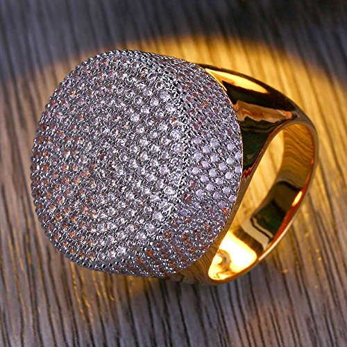 TOPGRILLZ 23mm 14K Gold Plated Round Fully Iced Out CZ Lab Simulated Diamond Bling Band Style Pinky Ring for Men Hip Hop