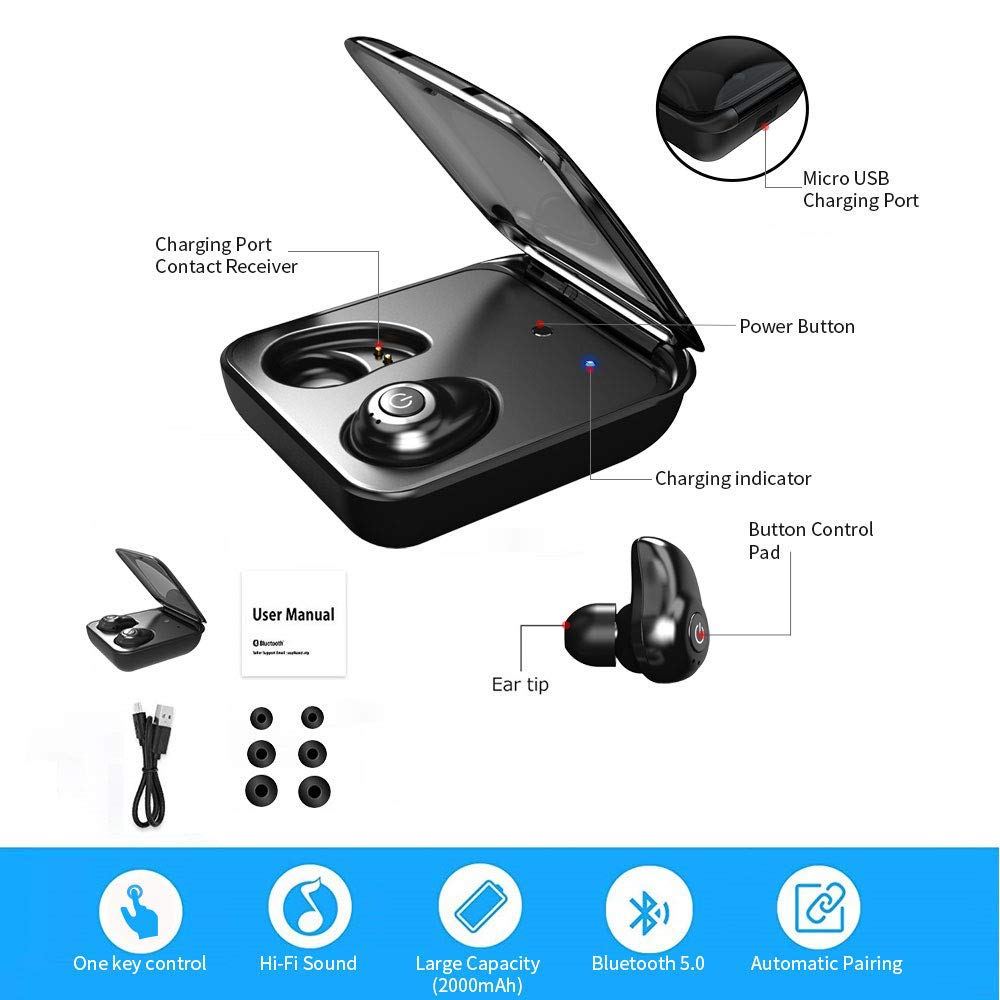 Magnetic Bluetooth 5.0 Stereo Sound Earphones for Most Bluetooth Devices Bluetooth Earbuds 2000mAh Charging Case as Power Bank Dual Built-in Mic Auto Pairing Headphones Upgraded Wireless Earbuds