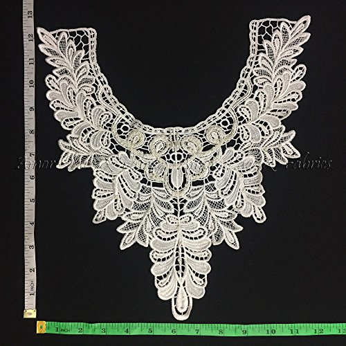 2 Pieces, Detail Leaf Design Applique with Beautiful Beadwork, Ivory, 12.5