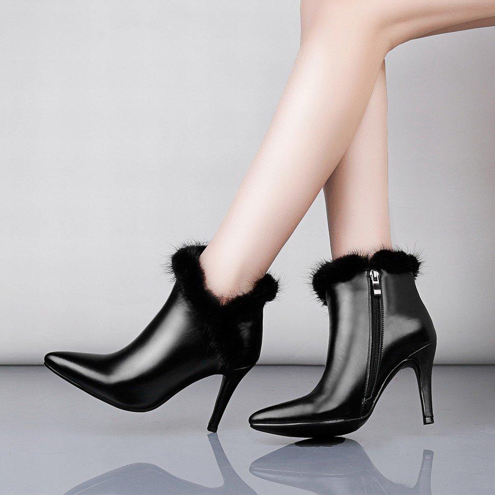 ANI la Estación Europea Cuenta con Zapatos Auténticos, Botas de Mujer, Botas Finas con Botas Puntiagudas, Botas Grandes,Negro,38 38