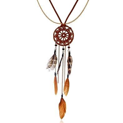de3685c931c7 Comfysail Indio Collar Boho Hippie Estilo étnico Borlas Atrapasueños Largo  Cadena Collar De Plumas Tribal Accesorios para Mujeres niñas  Amazon.es   Joyería