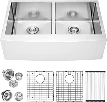36 Farmhouse Sink Double Bowl Lordear 36 Inch Stainless Steel Kitchen Sink 16 Gauge Apron Front Double Bowl 50 50 Kitchen Farm Sink
