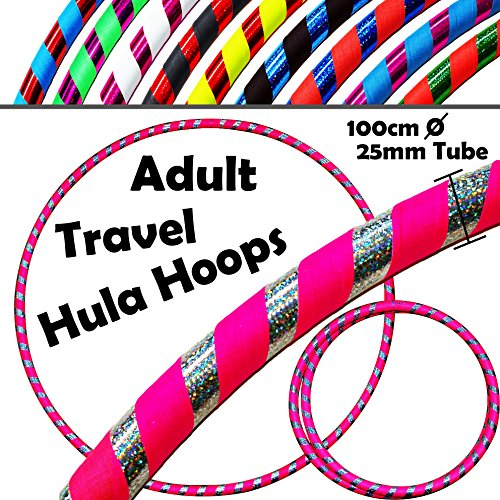 PRO Hula Hoops (Ultra-Grip/Glitter Deco) Weighted TRAVEL Hula Hoop (100cm/39') Hula Hoops For Exercise, Dance & Fitness! (640g) NO Instructions Needed - Same Day Dispatch.! (UV Pink / Silver Glitter)